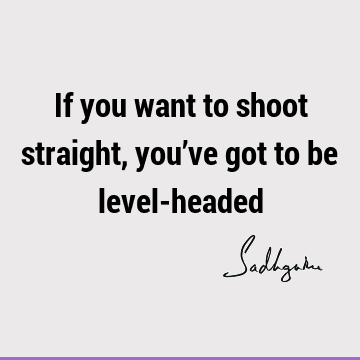 If you want to shoot straight, you've got to be level-