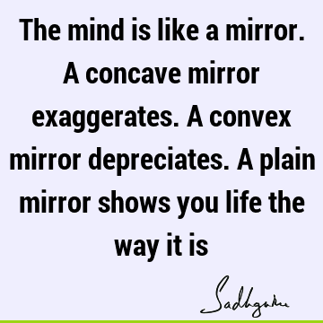 The mind is like a mirror. A concave mirror exaggerates. A convex mirror depreciates. A plain mirror shows you life the way it