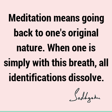 Meditation means going back to one